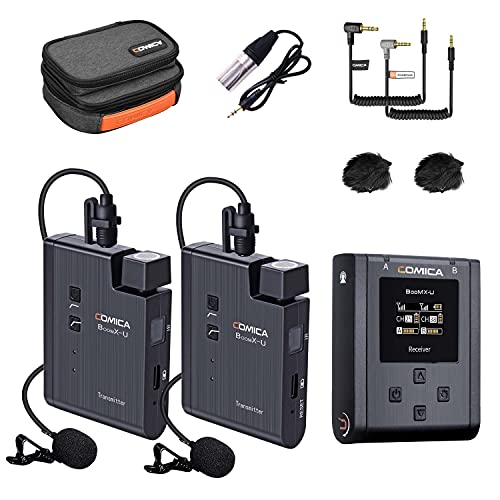 Wireless Lavalier Microphone System, Comica BoomX-U2 48-Channels UHF Lapel Microphones with 2...