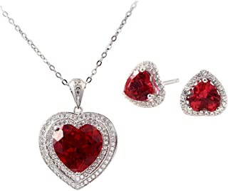 Women's Elegant Heart Ruby Pendant Necklace and Earring Studs Set in 925 Sterling Silver,Jewelry Sets Gifts for Her