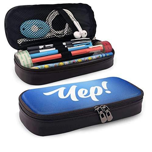 AOOEDM Yep Estuche de cuero para lápices Estuche de cosméticos de viaje portátil para oficina de collage de escuela secundaria