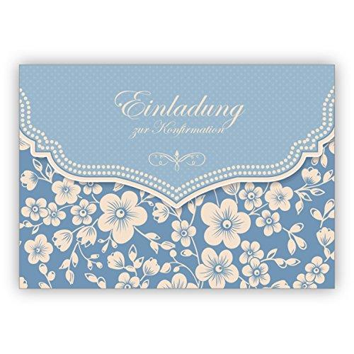 10x Hellblaue Vintage Einladungskarte mit Retro Kirschblüten Muster für Mädchen: Einladung zur Konfirmation • individuelle Grusskarten Set mit Umschlägen, hochwertige Qualität