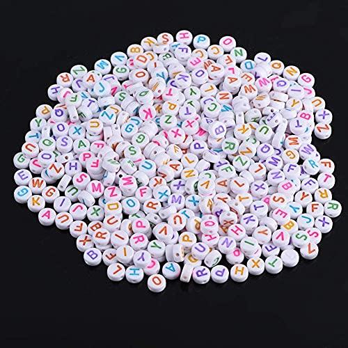 YYAOO Cuentas de acrílico de letras A-Z redondas del alfabeto de 4 x 7 mm/0.16 x 0.28 pulgadas, cuentas de plástico de letras para bricolaje pulsera collar para niños juguetes hechos a mano (500)