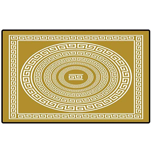 Greek Key Front Porch Rug Frieze with Vintage Ornament Meander Pattern from Greece Retro Twist Lines 57x24 Mat for Floor, Patio, Entry, Back Front Door