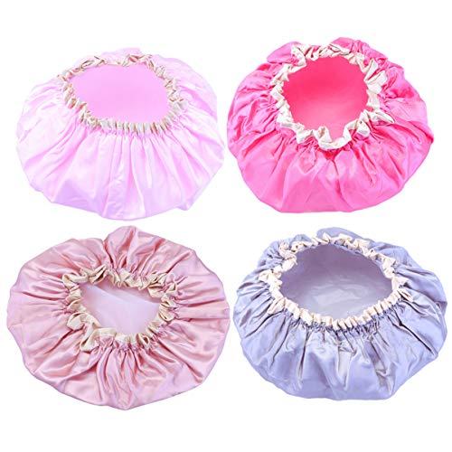 Minkissy 4Pcs Bonnet de Nuit Chapeau de Sommeil Bonnet de Cheveux Bonnet en Satin Bonnet de Sommeil Bonnet de Perte de Cheveux pour Enfants Salon Sommeil Spa