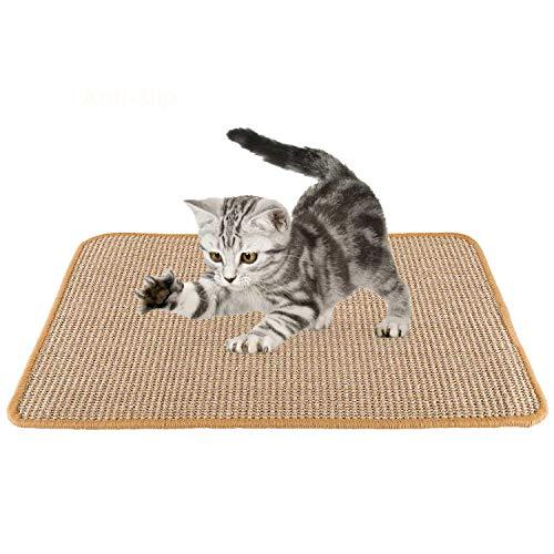 SlowTon Tapete Scratcher para Gato, Almohadilla para raspar de Cuerda Tejida de sisal Natural para Garras de molienda de Gato y Muebles de Alfombra de Alfombra de protección (Caqui)