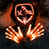 2 Set Halloween LED Light Up Mask And Gloves, Glow In The Dark Halloween Costume Cosplay Party Supplies for Adults