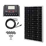 HQST 100 Watt 12 Volt Monocrystalline Solar Panel Kit with 30A PWM LCD Common...