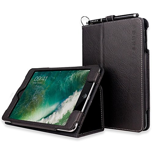 Snugg iPad Mini 1 (2012) / 2 (2013) / 3 (2014) Leather Case, Flip Stand Cover - Black