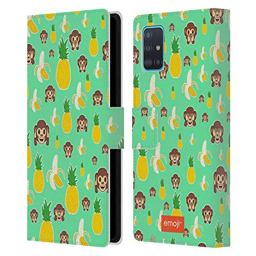 Head Case Designs Officially Licensed Emoji Banana Pineapple Monkey Patterns 5 Leather Book Wallet Case Cover Compatible with Samsung Galaxy A51 (2019)