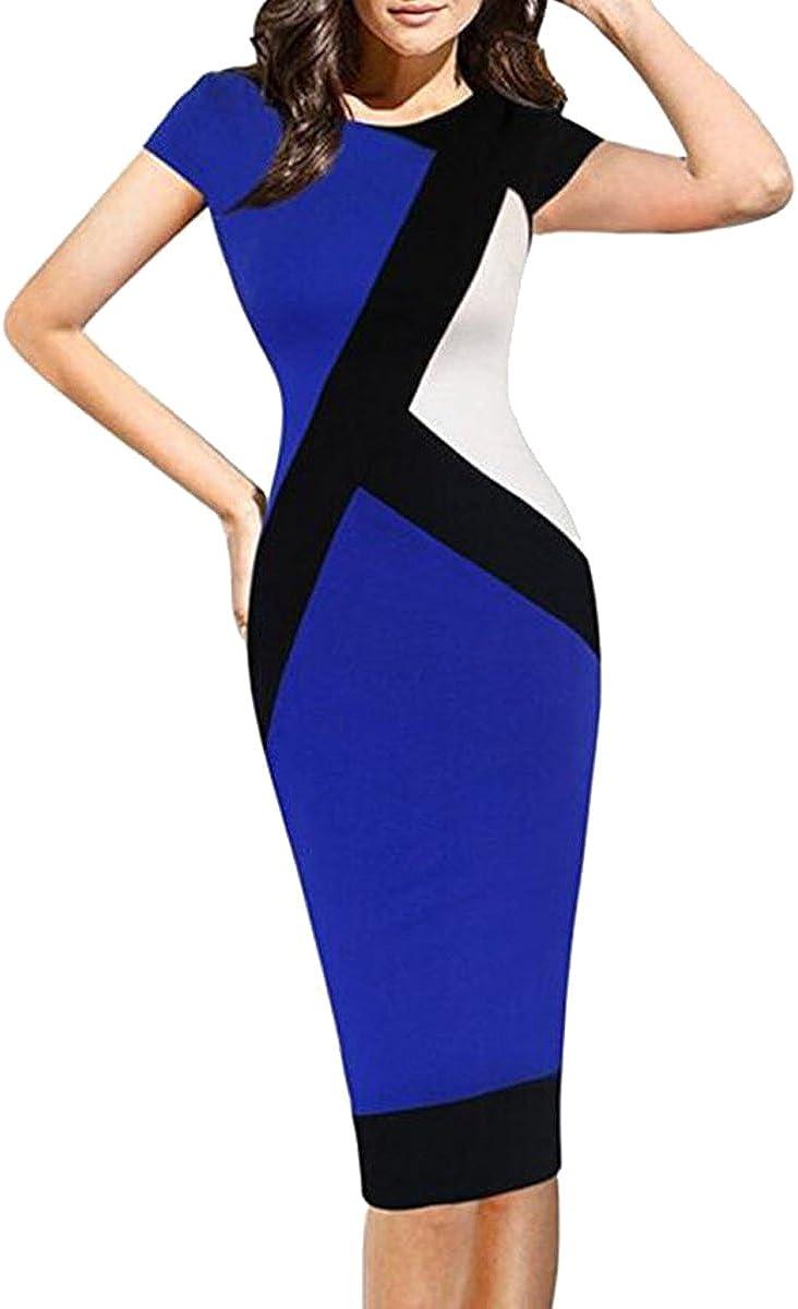 LECHEERS Women's Contrast Short Sleeve Pencil Business Party Dress