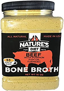 Nature's Diet Pet Bone Broth Protein Powder with Pumpkin, Fish Oil and Turmeric