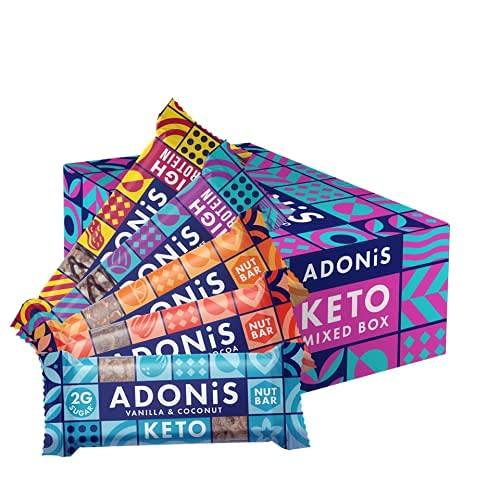Adonis Keto Bar | Gemengde Snackbars | 100% natuurlijke snacks, koolhydraatarm, veganistisch, suikerarm, paleo – Doos…