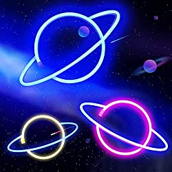 Blue Pink Planet Neon Signs Led Neon Sign Led Wall Light, Battery and USB Operated Neon Lights for Kids, Neon Signs for Bedroom Party Home Room Decor (Blue+Warm White)
