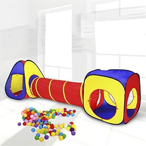 Tienda De Juegos para Niños Plegable 3 En 1 De 3 Piezas,Túnel, Área De Juegos para Bolas,Carpa Cohete Emergente para Niños,Uso En Interiores O Exteriores