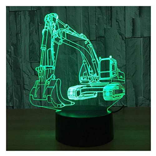 Comiwe Bagger 3D Illusion Nachtlicht Spielzeug,Haus Dekor LED Bettseite Tischlampe 16 Farben Ändern und Fernbedienung,Weihnachten Geburtstag Geschenk für Mädchen Junge Kinder Freunde und Familie