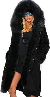 جاكيت بقبعة طويل الأكمام من بلاك ثينجس معاطف شتوية دافئة للنساء مقاس كبير