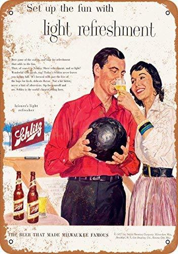 BRILLON 1957 Blechschild Schlitz Bier und Bowling, Vintage-Look, 20,3 x 30,5 cm