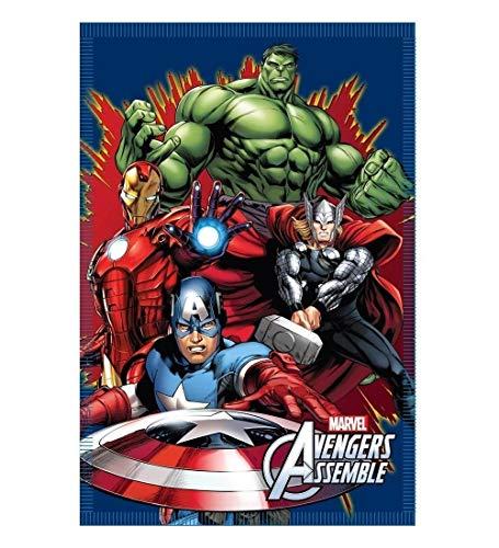 COPERTA Plaid Avengers Capitan America, Hulk, Thor, Iron Man Supereroi Marvel in Pail CM. 100x150 - 41452/1