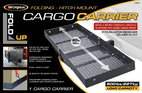 CargoLoc Hitch Mount 60' x 19.5' Cargo Carrier, Fold-Up - 500 lbs