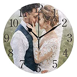 SUABO Personalized Photo Clock, Custom Round Photo Wall Clock, Personalized Family Clock Print, Customized Birthday Wedding Valentine's Day Christmas Photo Gift