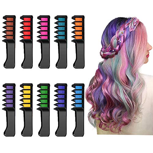 Temporary Hair Chalk Comb, Washable Hair Color Spray Dye Hair Comb Girls Kids Lady Hair Styling Tool 10PCS for Christmas, Birthday,Cosplay