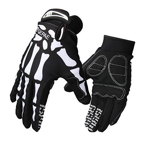 LERWAY MTB Fahrrad Voll Finger warmem Radsport Fahrrad Handschuhe Herren Motorrad Vollfingerhandschuhe Herren Fahrradhandschuhe (Schwarz-L)