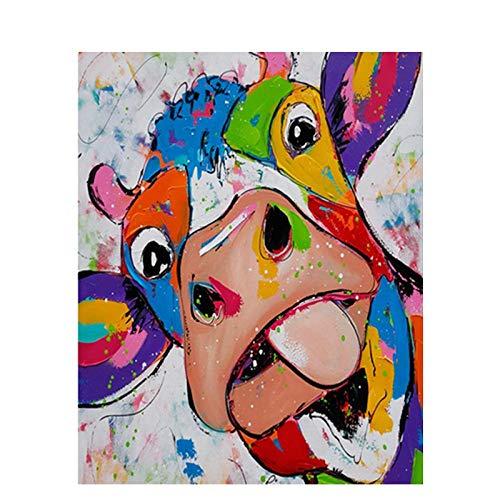 AOTAO Lovely Cow DIY Paint by Number Kits on Canvas Oil Painting by Number with Wooden Frame for Gift Present(40x50cm 16x20inch
