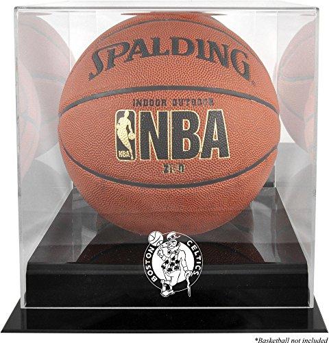 Boston Celtics Blackbase Team Logo Basketball Display Case with Mirrored Back - Basketball Displays
