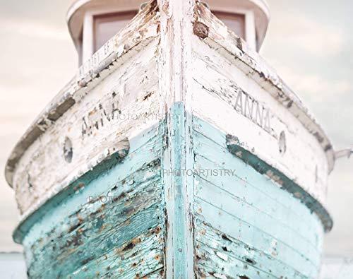 "Nautical Ship 11x14"" Fine Art Print, Nautical Decor - Aqua, Blue and White colors - vintage"
