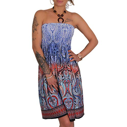 A105 Sommer Bandeau Kleid Holz-Perlen Damen Strandkleid Tuchkleid Tuch Aztec (37 Blau)