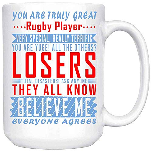 The Time Warden Gifts for Sports Lovers - Great Rugby Player Coffee Mug Ceramic (White, 15 OZ)