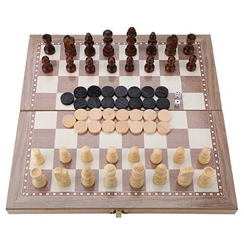 Haofy 3-in-1 Schachspiel, Holz Schachspiel Schach & Dame & Backgammon, Portable Travel Set Klappbrett Tabletop Spiel Spielzeug