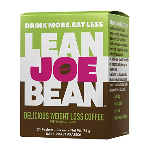 Lean Joe Bean Instant Keto Coffee for Weight Loss | Slimming & Detox Dark Roast Arabica Blend | Metabolism Boosting & Diet-Friendly - Paleo, Vegan, Gluten Free | Clinically Proven Effective | 24 Pack
