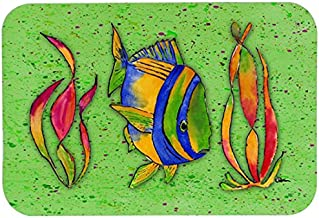 Caroline's Treasures 8568CMTTropical Fish on Green Kitchen or Bath Mat, 20 by 30, Multicolor