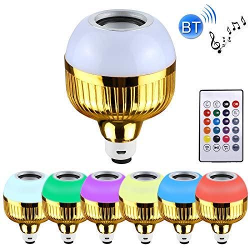 Wireless Control LED Bulb 12W Smart Wireless Bluetooth Speaker Musica Playing Lampadina LED dimmerabili, di Ricarica USB con Telecomando & Hook (Luce Colorata) [ZRX] (Color : Colorful Light)
