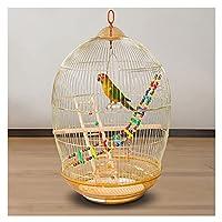 """大鳥かご ワ 30.7""""家庭用ゴールデンオウムの鳥ケージの電気メッキのための黄金の鳥の檻の中を電気めっきする大きな携帯用鳥のおもちゃ 耐久性"""