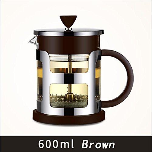 HAHT 304RVS Dikke Glazen Pot Filter Franse Pot Europese Hand Koffiepot Koffiepot en theepot Hand Koffie Pot (600ml & 1000ml), Bruin