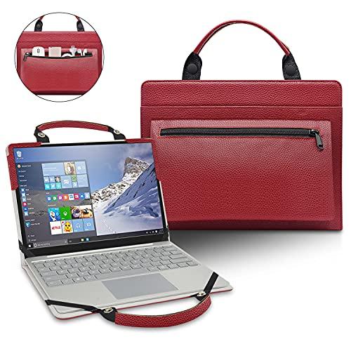 LiuShan 2 in 1 Funda de Cuero de PU + Bolsa portátil para 11.6' Lenovo IdeaPad Flex 3 CB 11IGL05/Lenovo Yoga 710 11 710-11IKB 710-11ISK [No Adecuado Lenovo IdeaPad 3 CB 11IGL05],Rojo