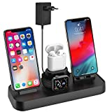 Soporte de Carga para Apple Watch, Estación de Carga Rápida Qi Inalámbrica 4 en 1 Soportes de Carga de para Phone X XS MAX 8 Plus y Teléfonos Qi-Enabled AirPods e iWatch Series 4/3/2/1