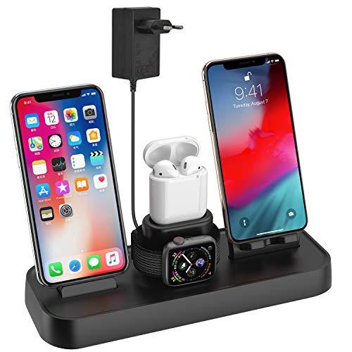 Supporto di Ricarica per iWatch, Qi wireless caricatore supporto di ricarica wireless veloce docking station per Apple Watch Stand Airpods iPhone X/8 Plus/XS MAX/XR e Iwatch Series 4/3/2/1