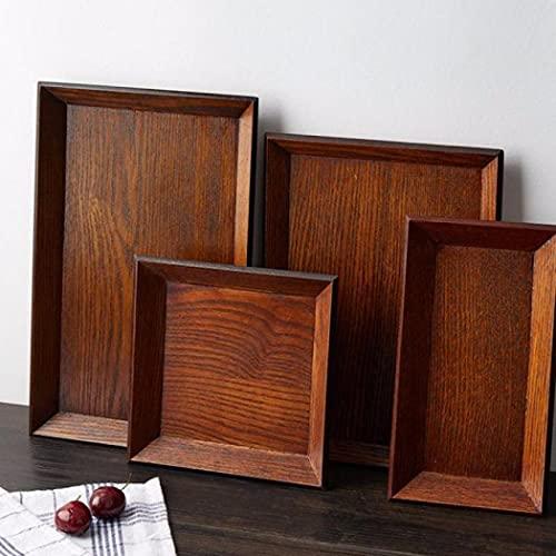 Bandeja rectangular de madera para frutas, vajilla de madera maciza, bandeja para servir postre, aperitivos, platos de servir para restaurante y hogar (21 x 11 x 2 cm)