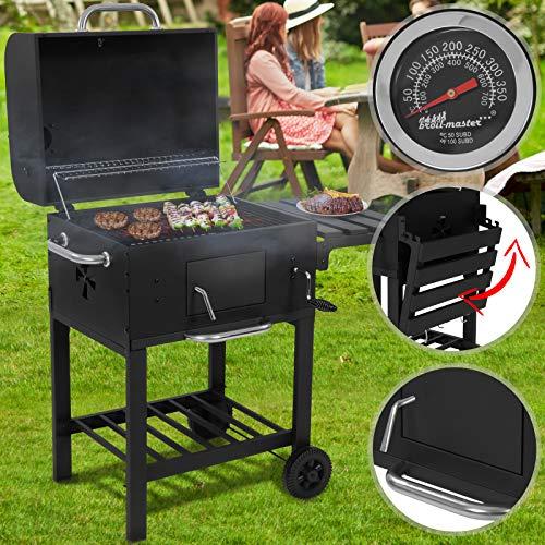 Barbecue a Carbonella - Trasportabile con 2 Ruote, Termometro, Acciaio, Nero - Griglia a Carbone, Grill Portatile, BBQ Smoker
