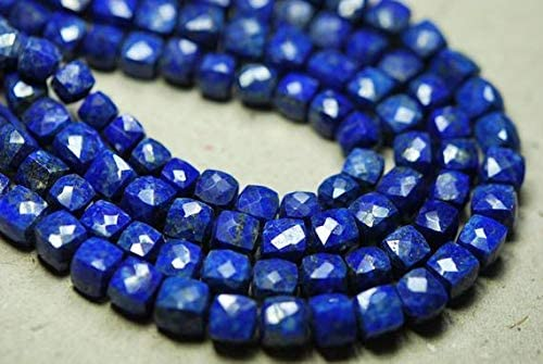 GEMS-WORLD Excellence Beads Gemstone 8 Inches Lapis Large special price Cube Blue 3D Faceted