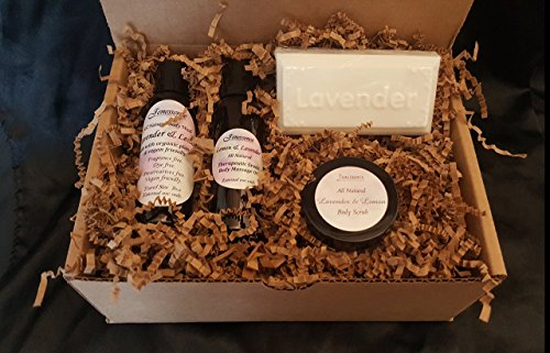 Gift Set Travel Size All Natural, Vegan Friendly, Body Wash, Body Scrub, Body and Massage Oil, Lavender Soap (contains palm oil). Made with real essential oils, Lavender & Lemon. Free Shipping.