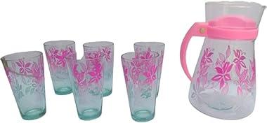 krishivcreation Tableware Serving Desire Lemon Set, Juice/Water Jug, Carafes & Pitchers with 6 Water Glass