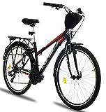 Corelli Tess Citybike 26 Zoll mit Aluminium-Rahmen, V-Brake, Shimano 21 Gang-Schaltung, als Damen-Fahrrad, Mädchen-Fahrrad, Kinder-Fahrrad in Schwarz/Rot.