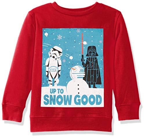 Star Wars Boys' Ugly Christmas Crew Sweatshirt, Snow Good/Red, X-Large (16)