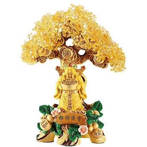 Árbol del dinero de Feng Shui hecho a mano Citrinos suerte de la decoración del árbol de Buda Estatua de Fortune árbol decoración de la tienda de Protección don espiritual meditación Dinero de la suer