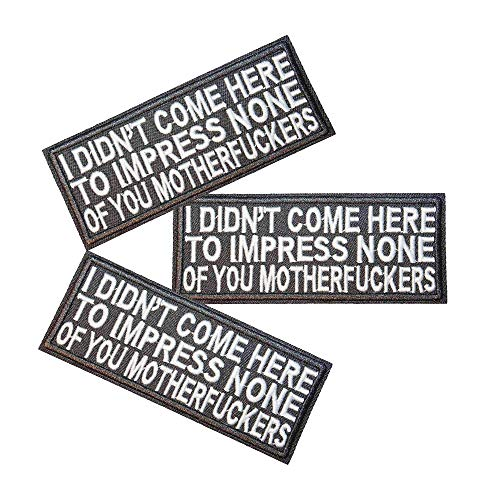 U-Sky Sew or Iron on Patches - I Didn't Come HERE to Impress None of You Motherfuckers Patch