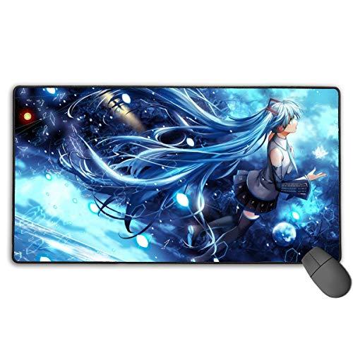 Ergonomische computermuismat met gestikte rand, dikke grote waterbestendige muismatten, Hatsune Miku Cool Blue Music Poster Cool Gaming Mousepad voor kinderwerk