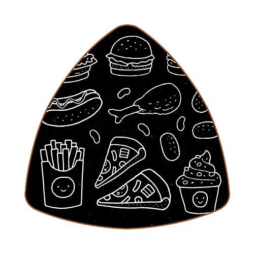 Bennigiry Juego de 6 posavasos de piel con forma de pizarra de comida rápida y resistente al calor